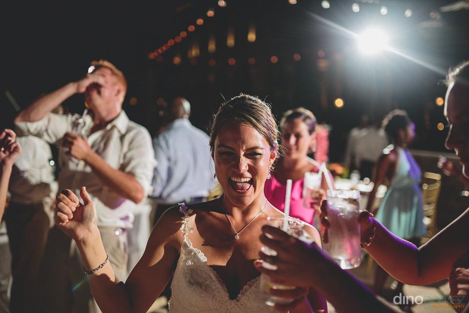 Bride enjoying her cabo destination wedding