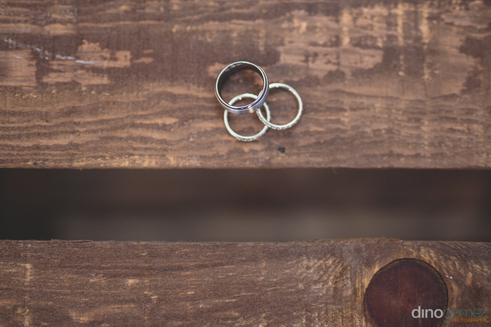 wedding rings on wooden bench