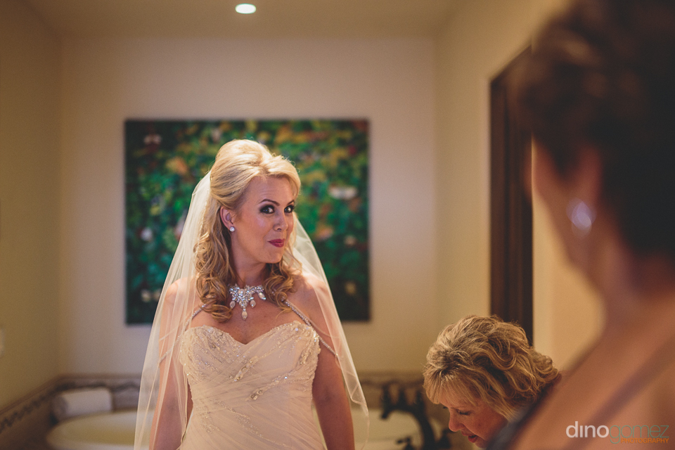 cheerful bride at destination wedding