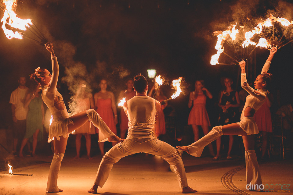 Fire dancers cabo san lucas wedding