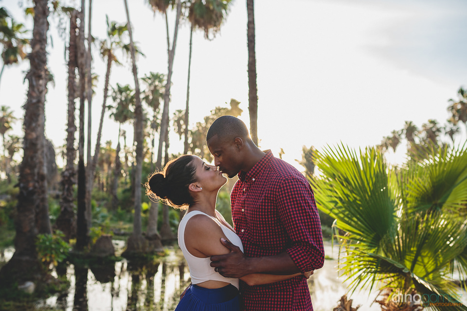 Tropical wedding kiss in under palm trees