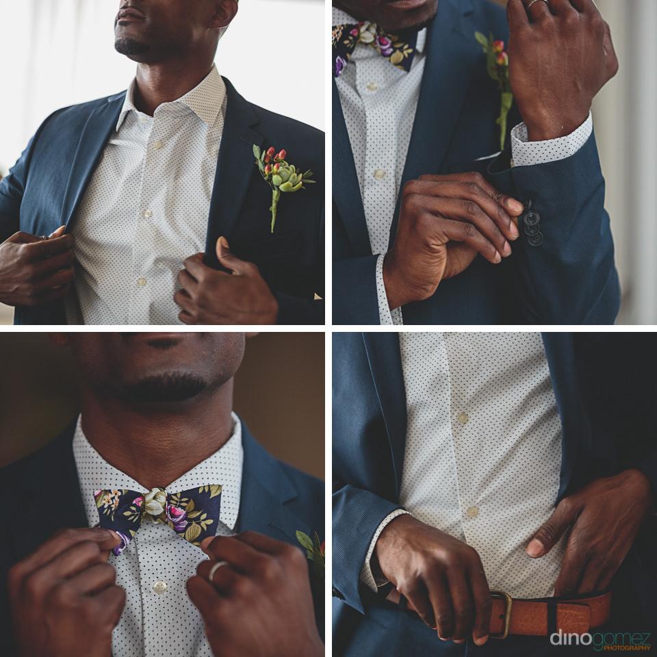 Groom gets dressed wedding suit tie belt boutonniere