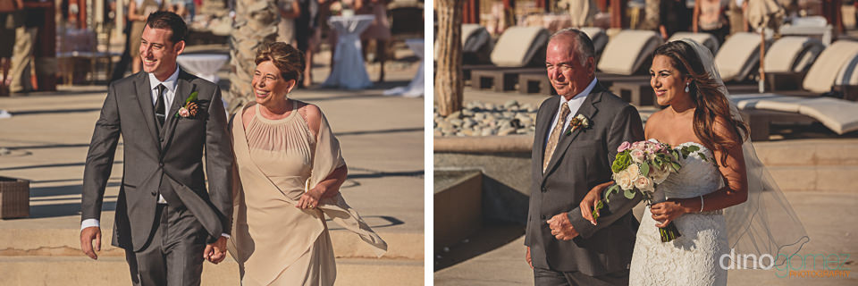 Parents walk with bride and groom