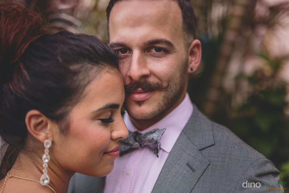 stylish bride and groom at destination mexico wedding