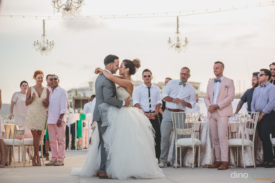 first dance of bride and groom after their luxury cabo wedding