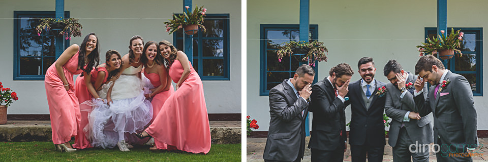 bridesmaids and groomsmen celebrate with bride and groom at back