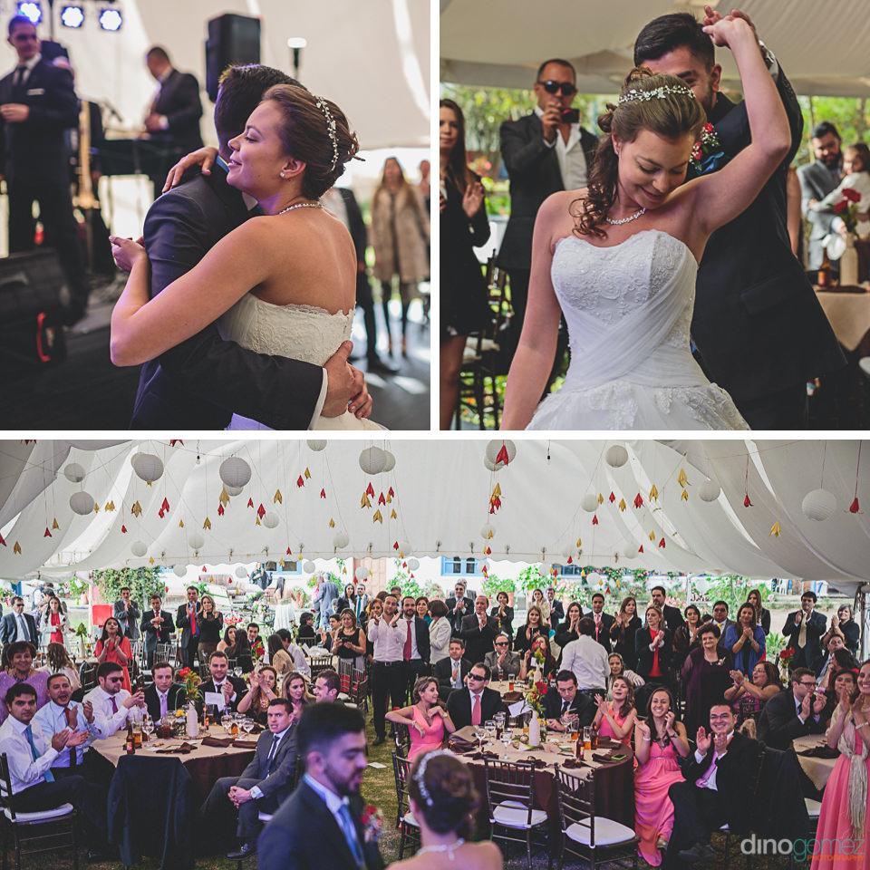 guests cheer newlyweds at wedding reception in colombia