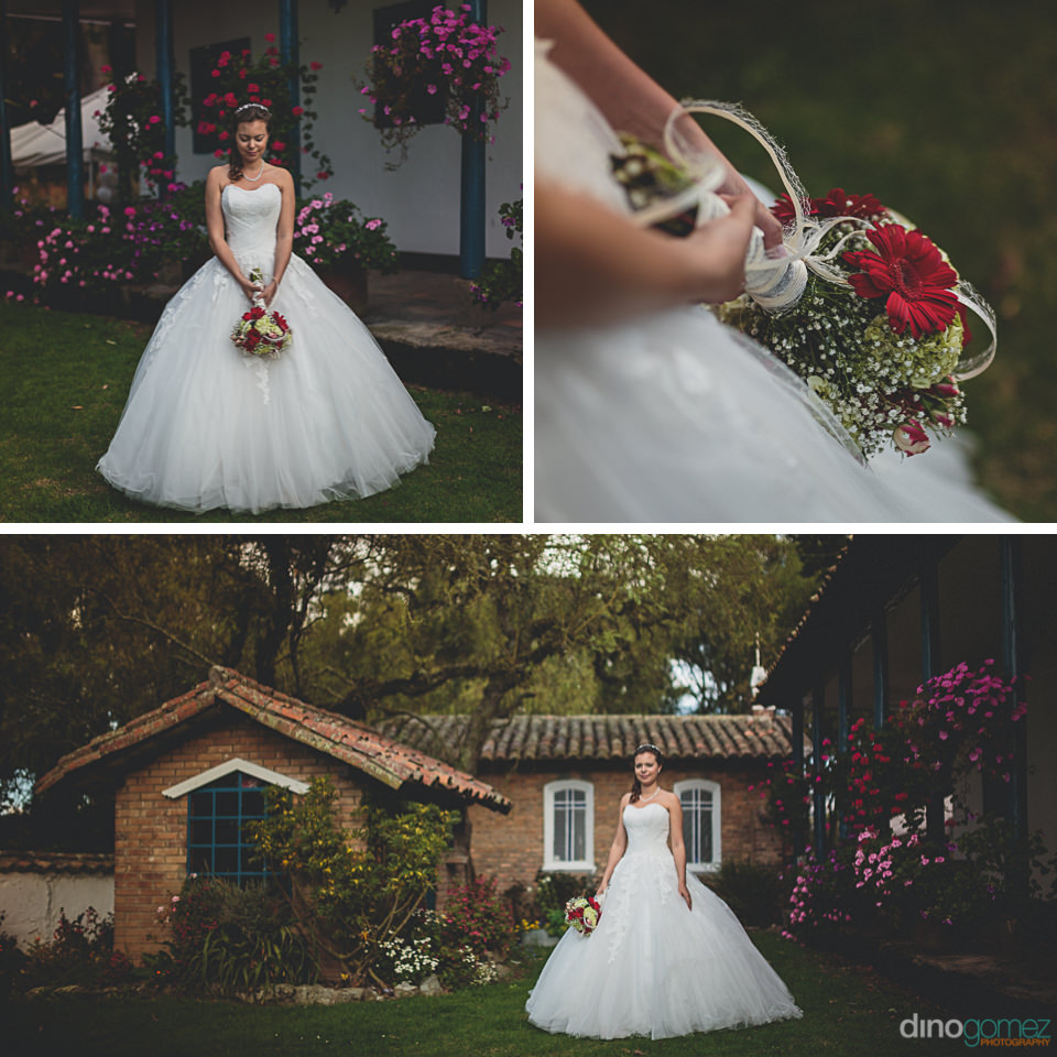 long white wedding dress in garden