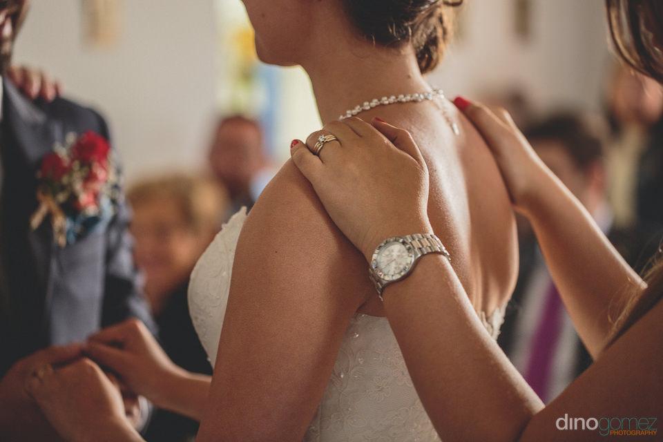 bride and groom make their vows at hacienda destination wedding