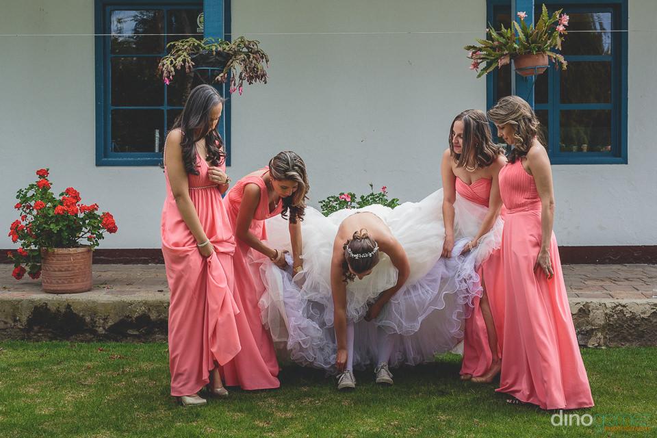 bride and bridesmaids at backyard wedding