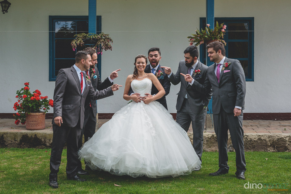 bride groom and groomsmen at destination colombian wedding