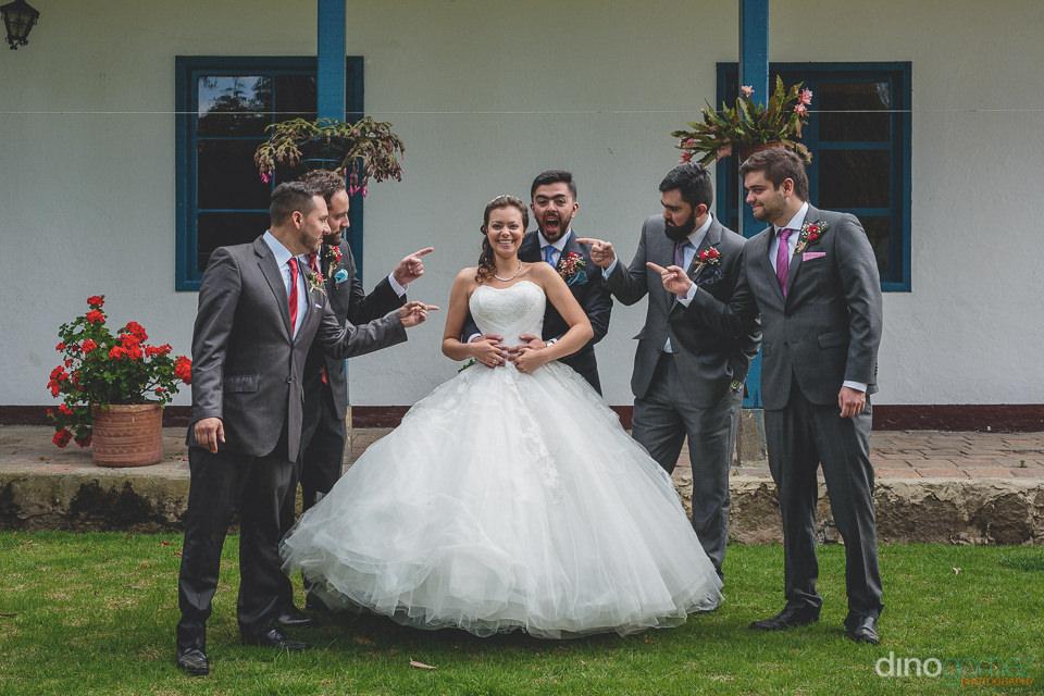 bride groom and groomsmen at destination colombian wedding