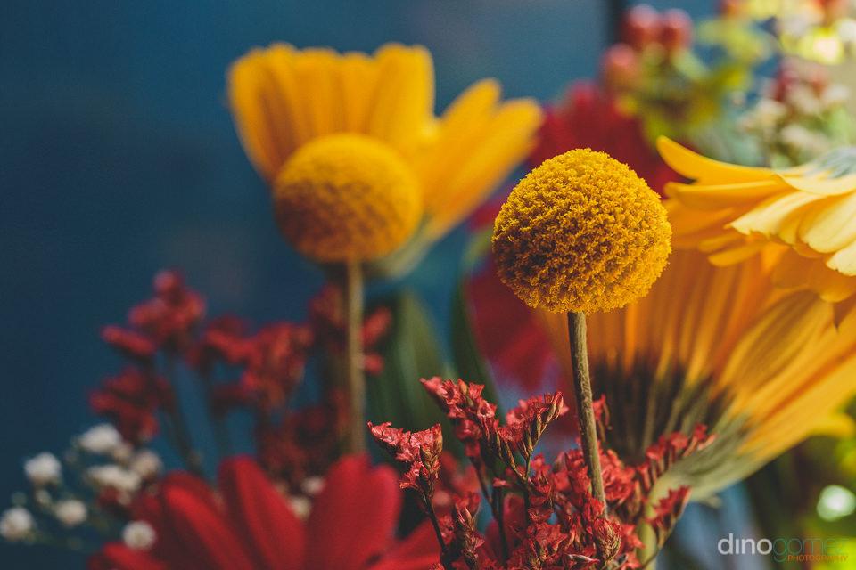 closeup of yellow wedding flower
