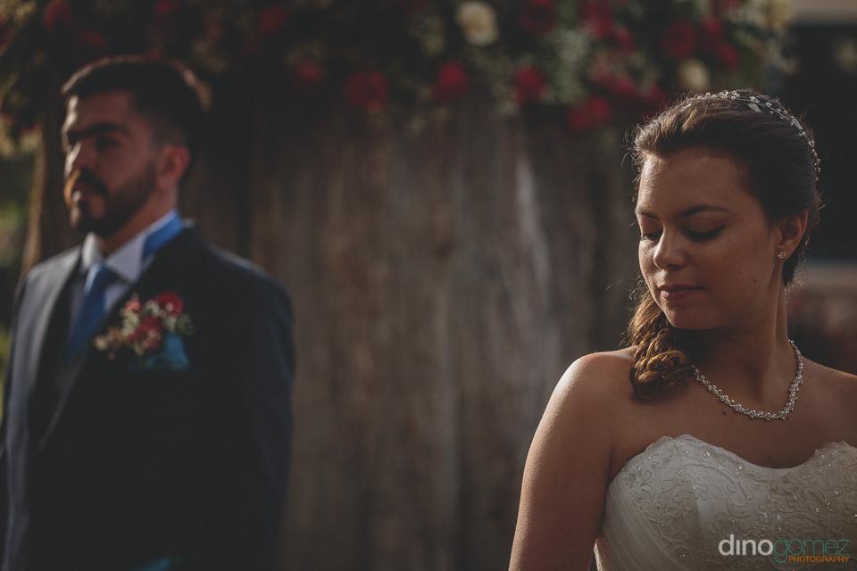 bride and groom at hacienda wedding in mexico