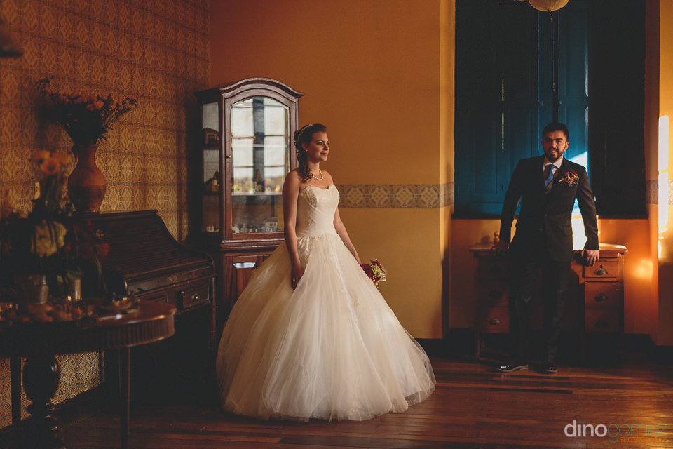 young couple married in a historic south american countryside ha