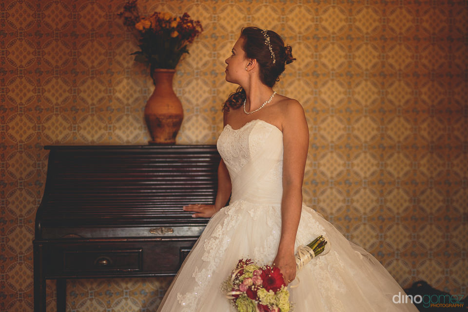 bride enjoys traditional colombian interior design at her weddin
