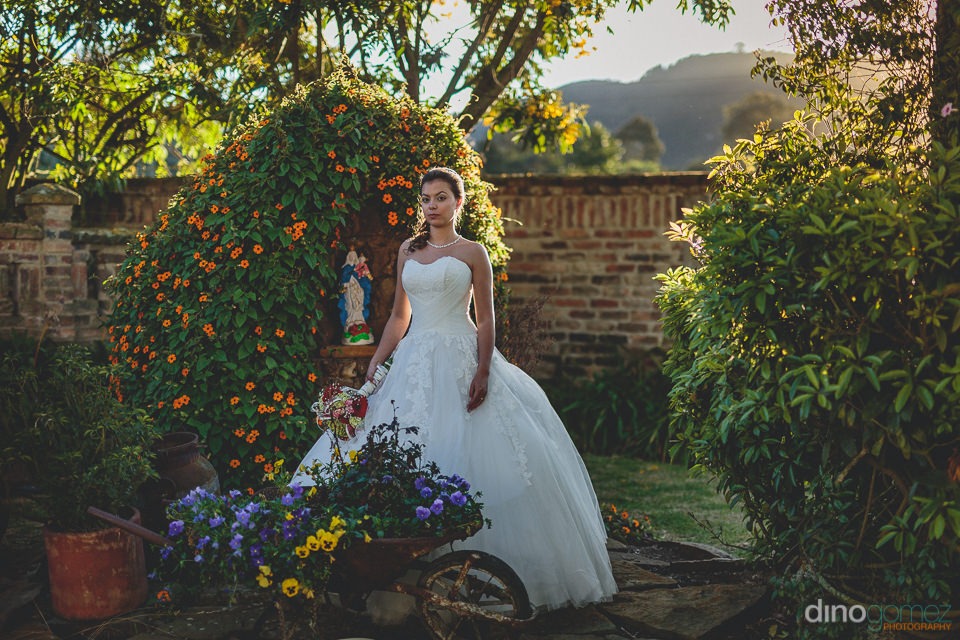 the beautiful bride stands in the garden during her backyard wed