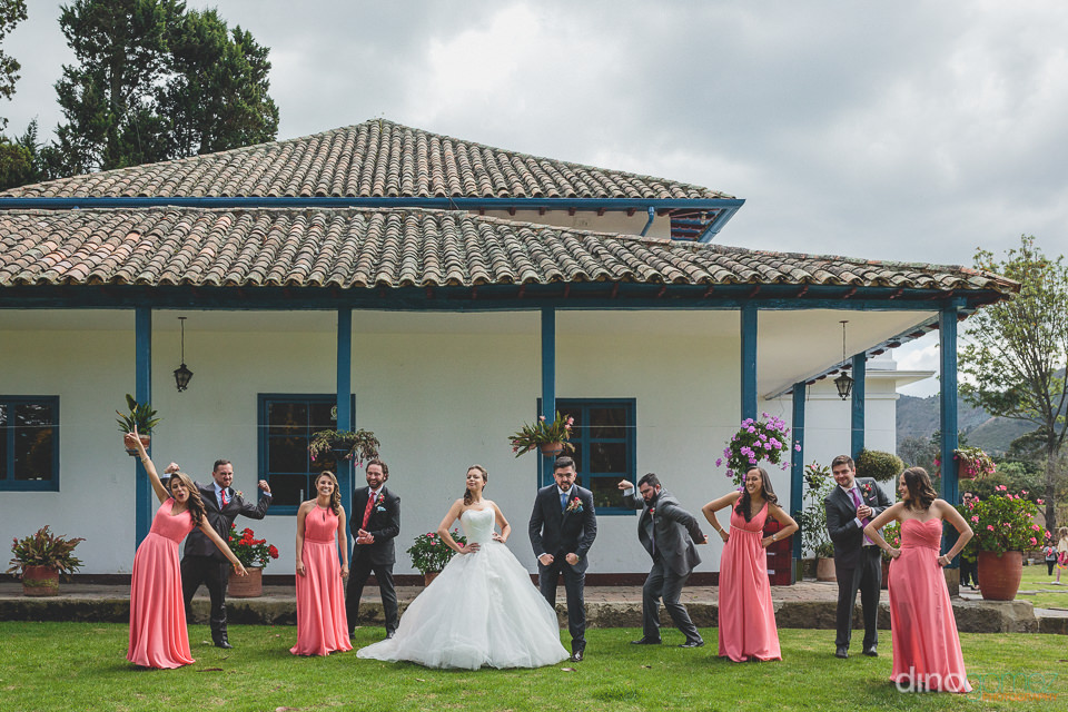 best friends bridesmaids and groomsmen pose outside of mexican h