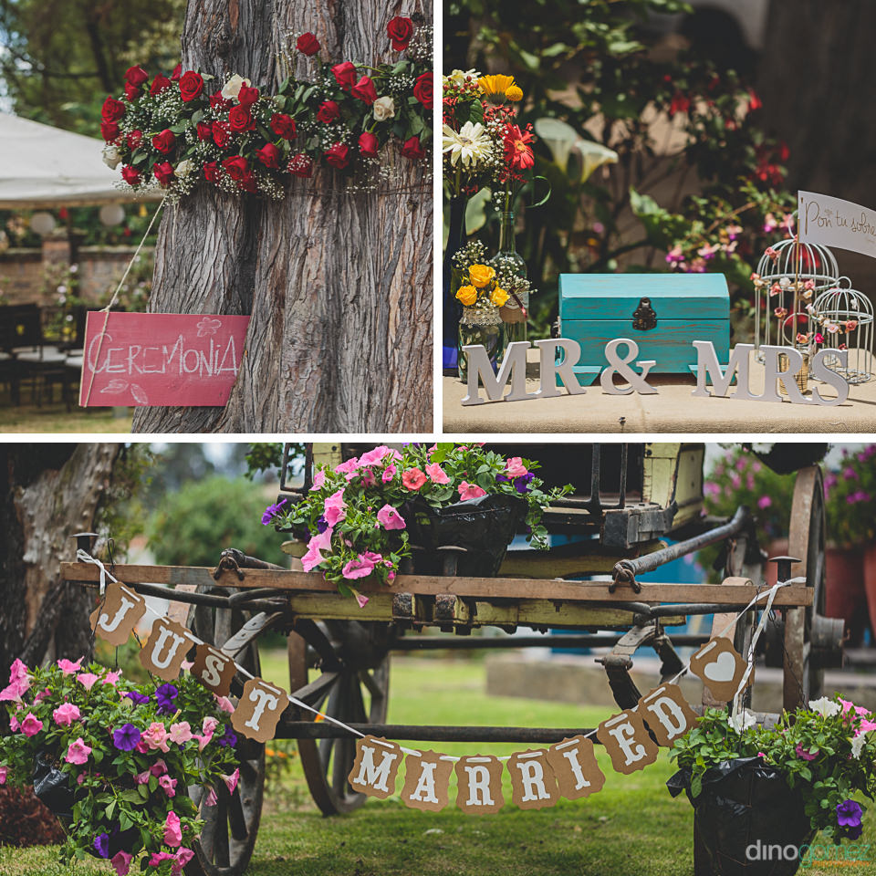 homemade wedding decorations and flowers for outdoor wedding