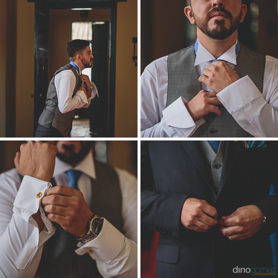 groom puts on suit for destination wedding