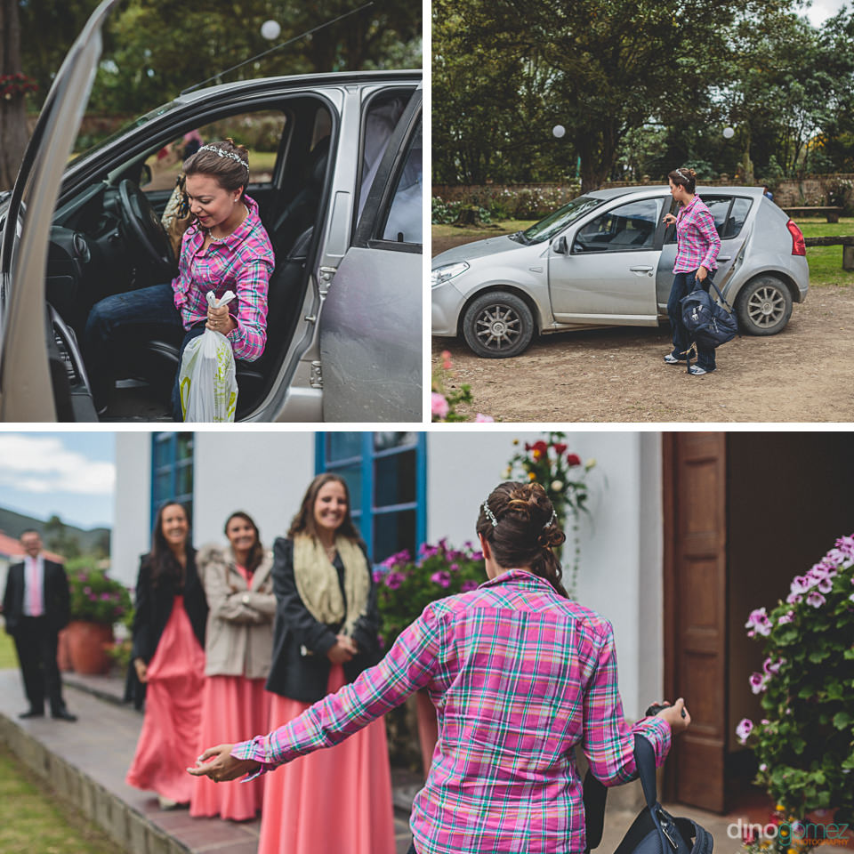 bride arrives at wedding greeted by bridesmaids