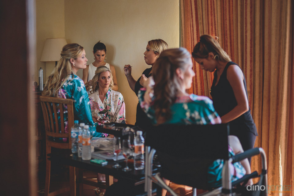 cabo san lucas hair and makeup specialists prepare the bride