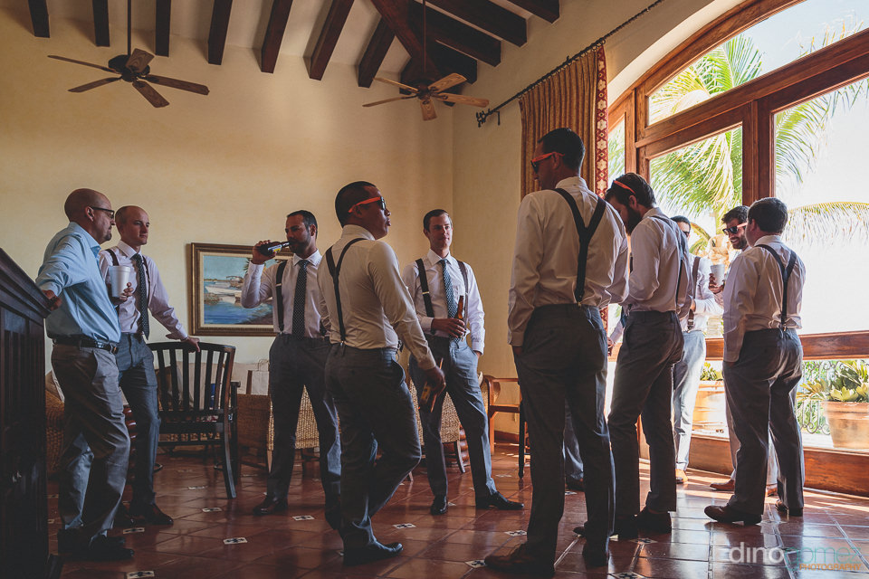 groom and groomsmen get together for a pre-wedding drink