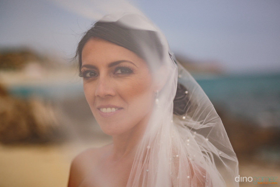 dreamy wedding photo of bride in her wedding veil