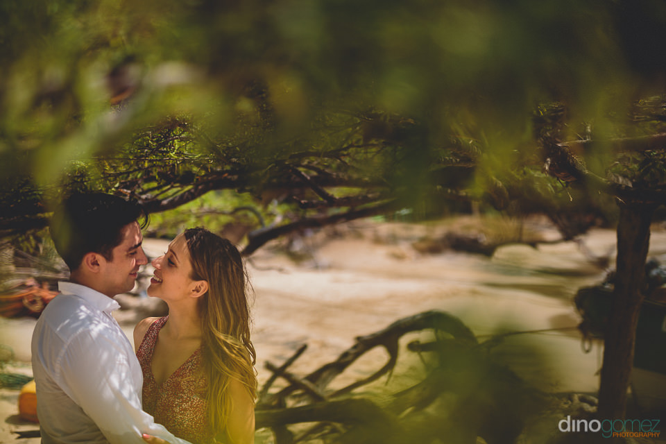 wedding photo through green beach tree leaves in tropical colomb