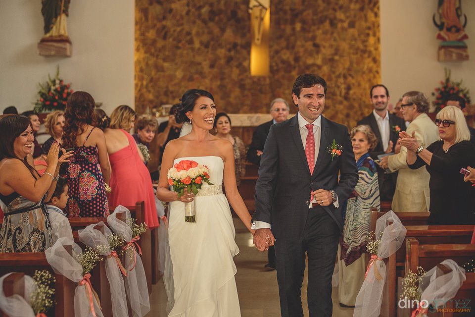 newlyweds walk out of los cabos church as husband and wife – d