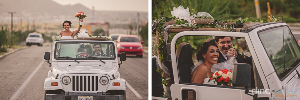 newlyweds ride in jeep through mexico