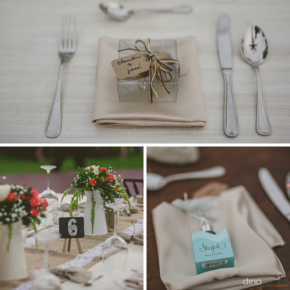 simple and elegant place settings for local mexico wedding in lo