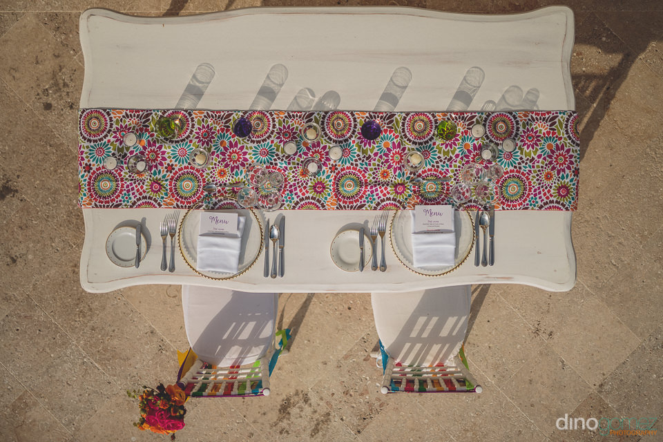 photo from above of the bride and grooms mexican dinner table by