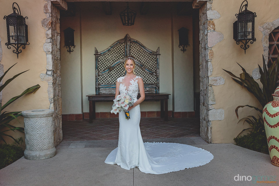 gorgeous bride at hacienda cocina y cantina in cabo san lucas me