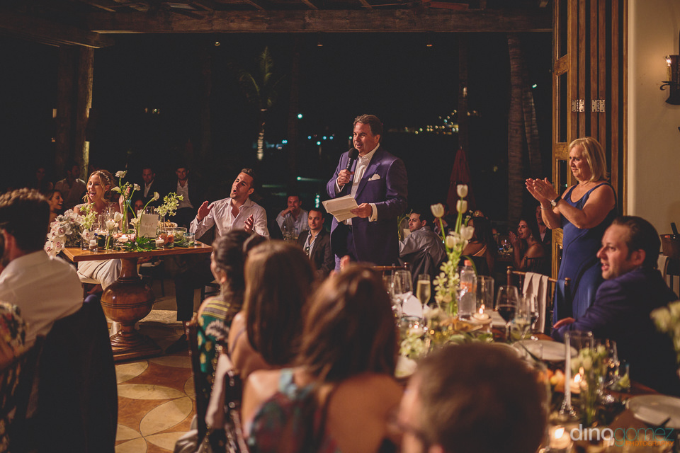 wedding guest gives speech at hacienda cocina y cantina