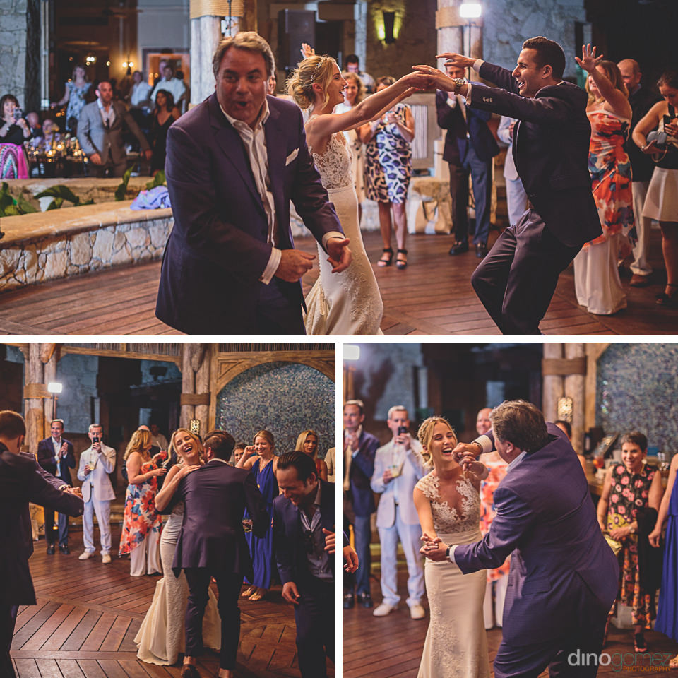 bride dances with wedding guests in los cabos photo by dino gome
