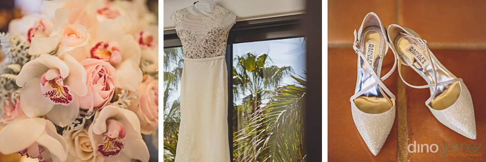 bridal dress shoes and bouquet in cabo san lucas