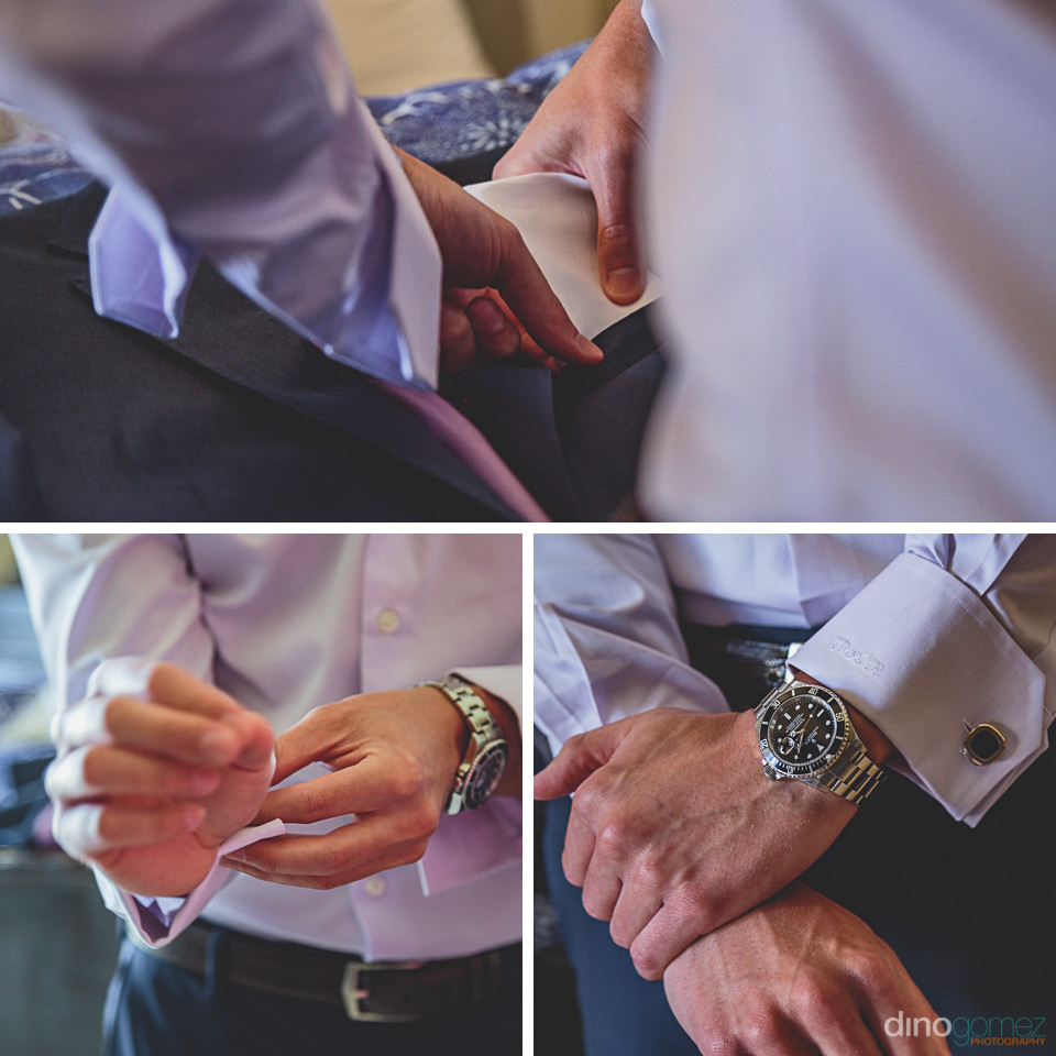 groom puts on his watch and cufflinks before wedding