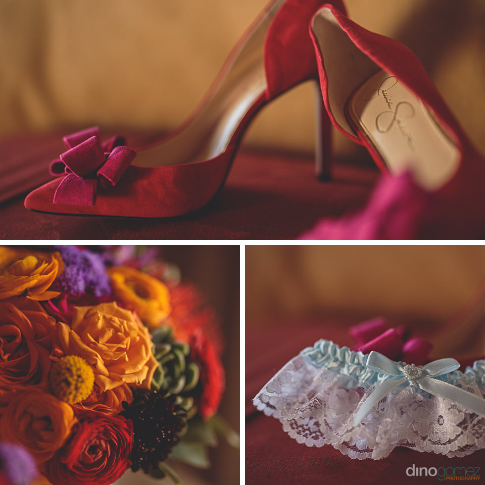 red bridal wedding shoes flowers and garter photos by dino gomez