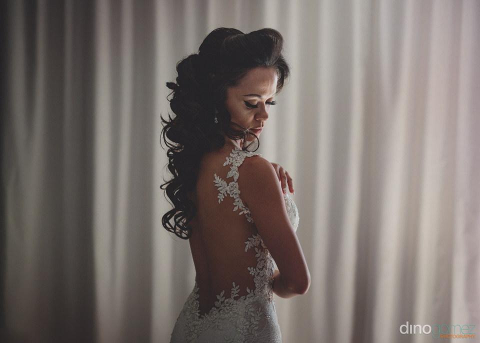 chic luxury wedding dress with flowery fringe