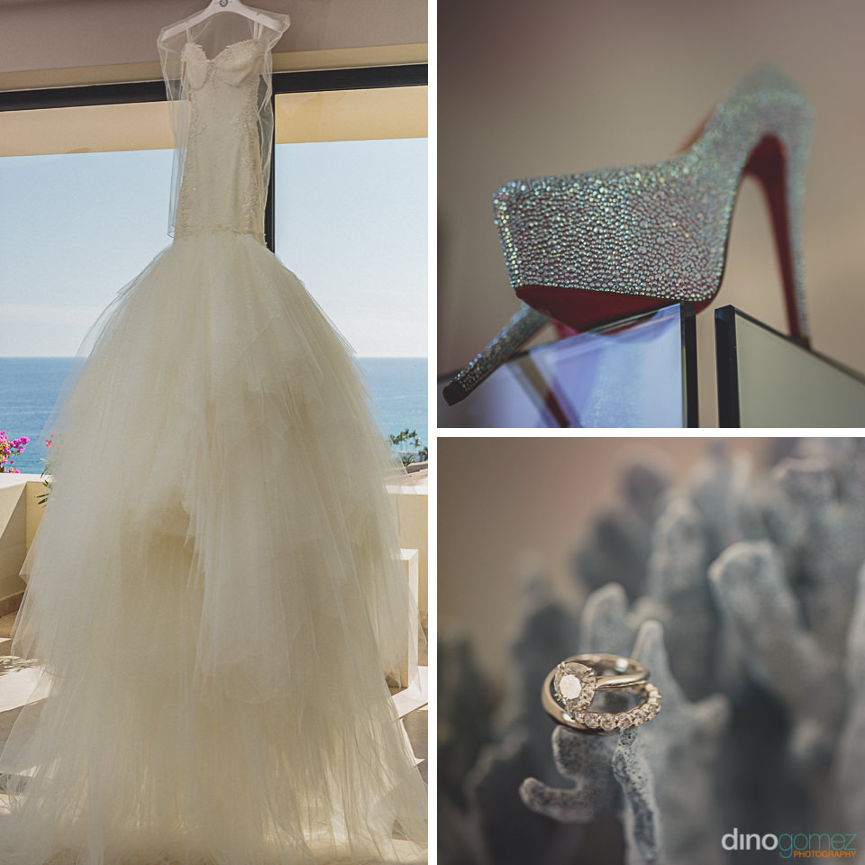 luxurious designer wedding dress shoes and ring photographed by