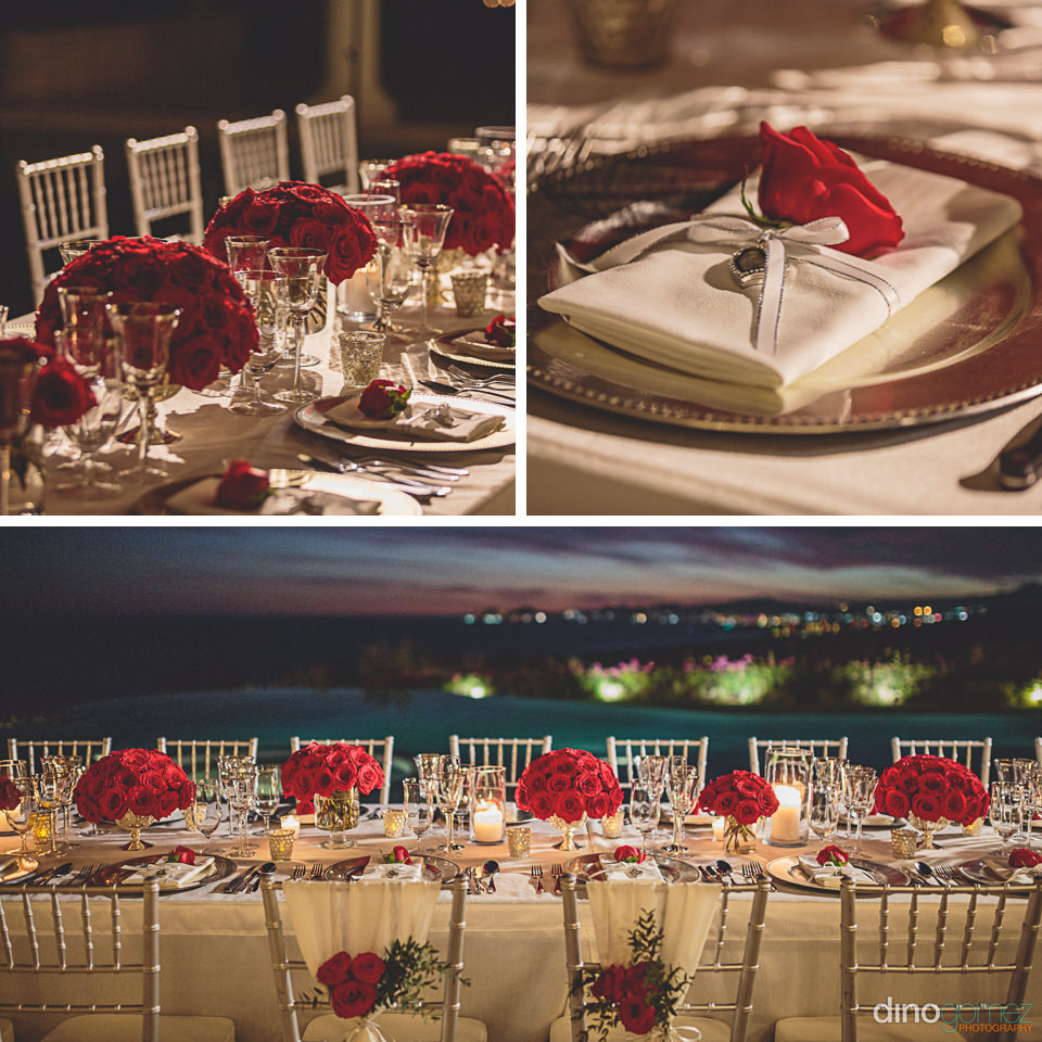 red rose floral theme organized by momentos weddings and events