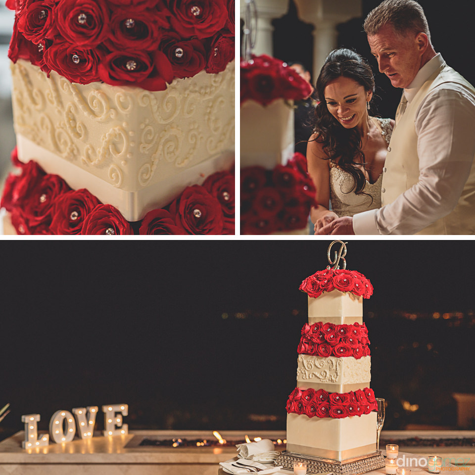newlyweds cut red rose wedding cake