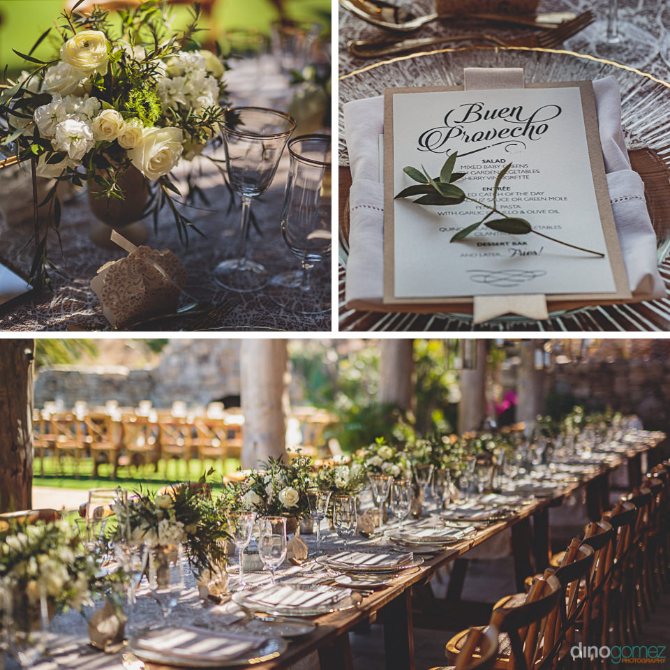 luxury wedding place settings and floral centerpieces at cabo we