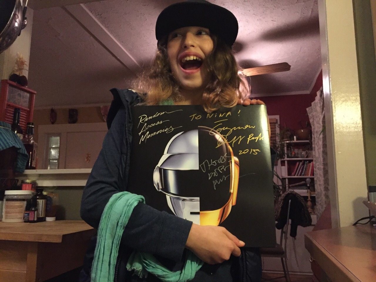 niece with signed vinyl of Daft Punk