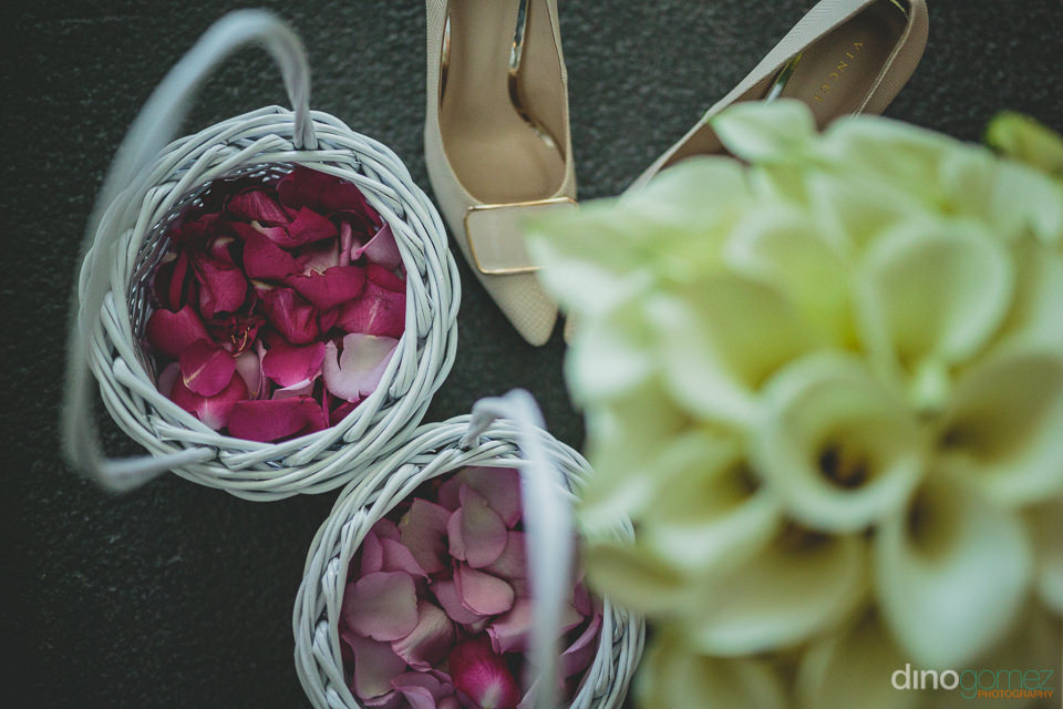 flower petals in basket for flower girls to throw