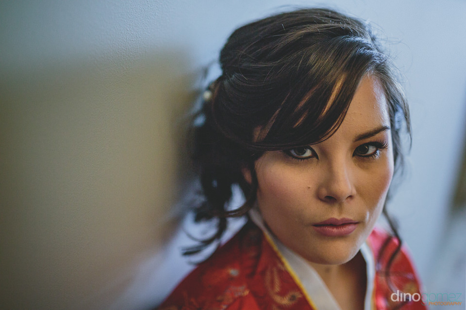 confident beautiful brides face before wedding