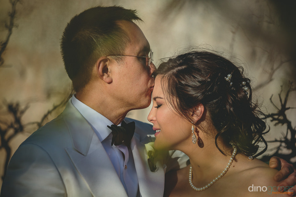 groom kisses bride on her forehead on wedding day