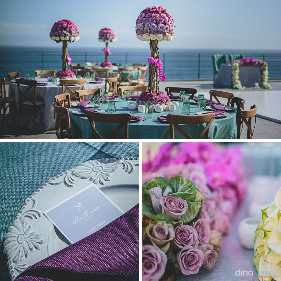 purple and white rose wedding by the main event cabo