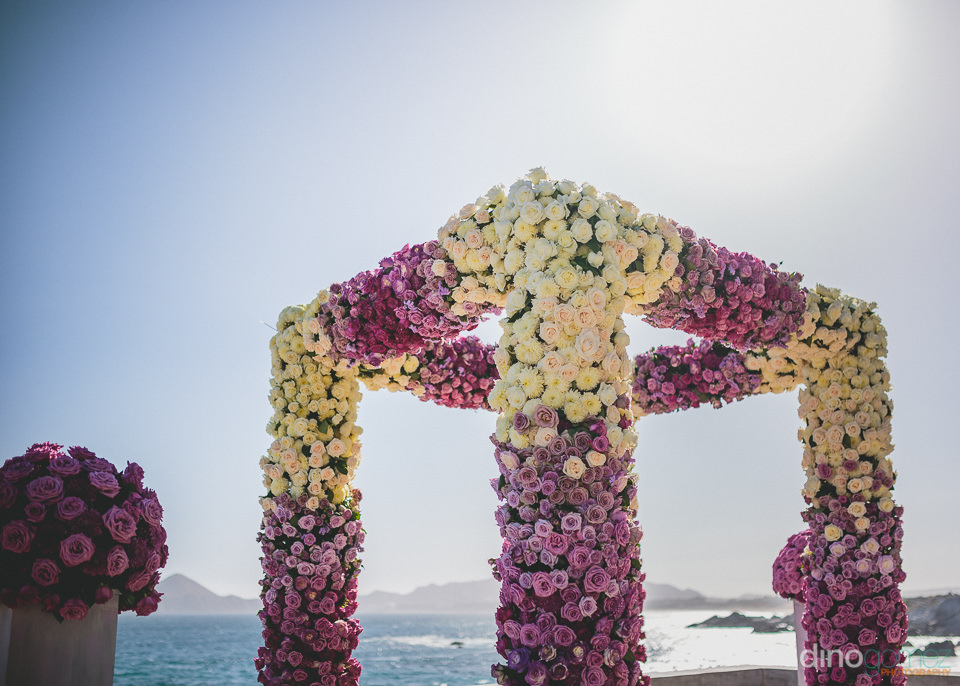 white purple rose wedding altar by the main event los cabos